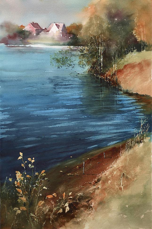 Как я нарисовал пейзаж с озером и домиками