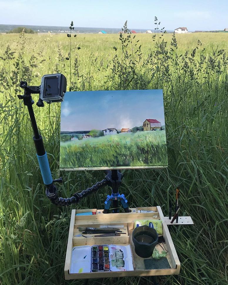 Как нарисовать луг с травами и цветами акварелью