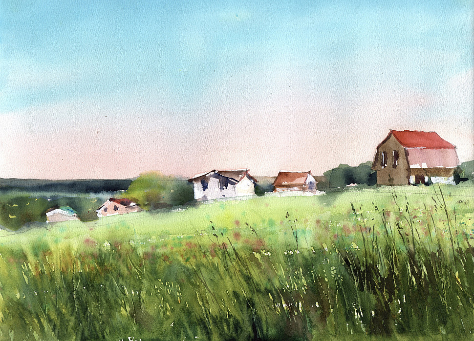 луг с травами и цветами, акварельный пейзаж