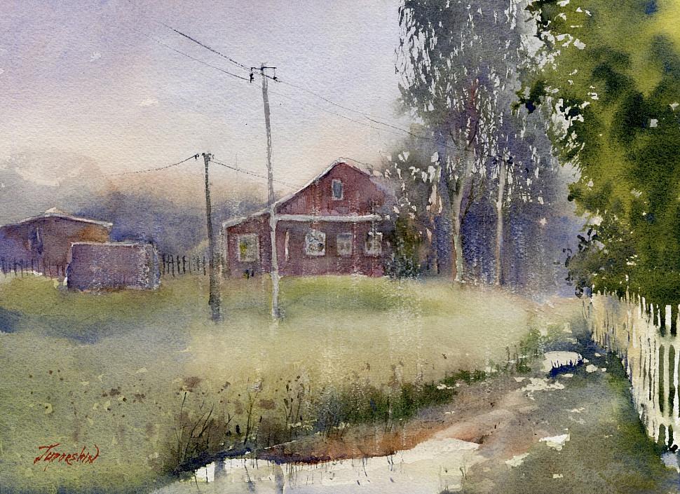 Как нарисовать русскую деревню в дождь